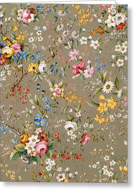 Flower Tapestries - Textiles Greeting Cards - Marble end paper Greeting Card by William Kilburn