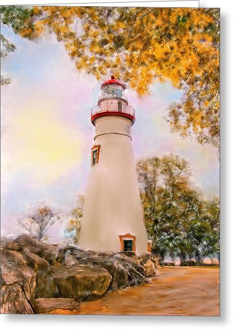 Fall Grass Greeting Cards - Marble Head  Lighthouse Greeting Card by Mary Timman