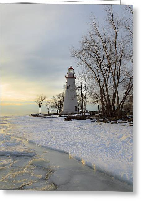 Jack R Perry Greeting Cards - Marblehead Lighthouse Winter Sunrise Greeting Card by Jack R Perry