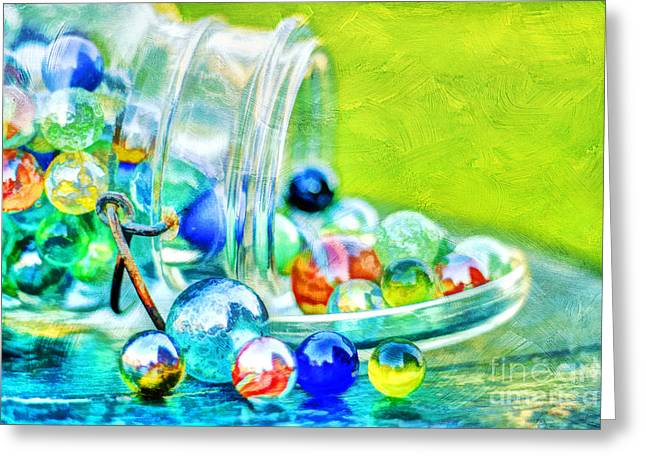 Mason Jars Greeting Cards - Marbles Greeting Card by Darren Fisher