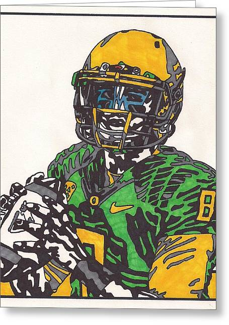 Ncaa Drawings Greeting Cards - Marcus Mariota 2 Greeting Card by Jeremiah Colley