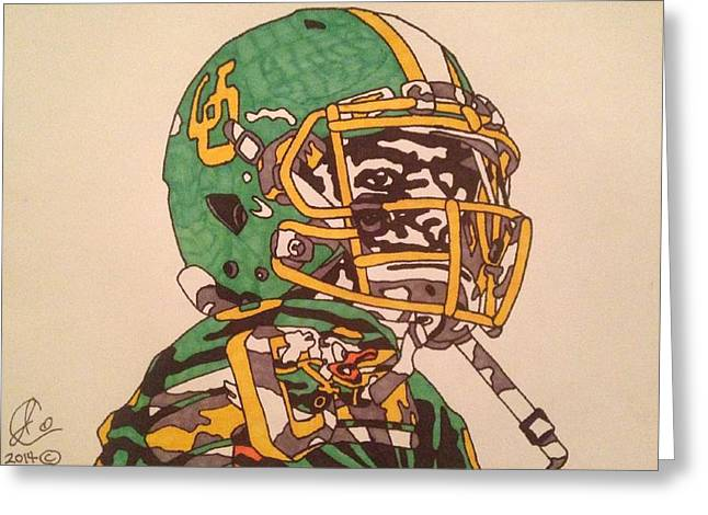 Ncaa Drawings Greeting Cards - Marcus Mariota Greeting Card by Jeremiah Colley