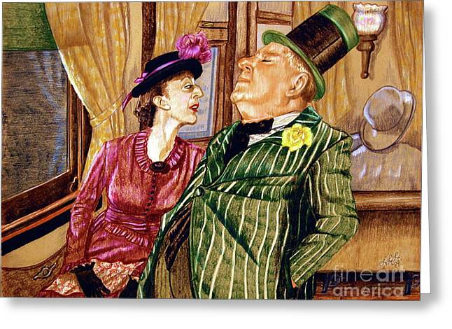 Linda Simon Wall Decor Drawings Greeting Cards - Margaret and W.C. Fields Greeting Card by Linda Simon