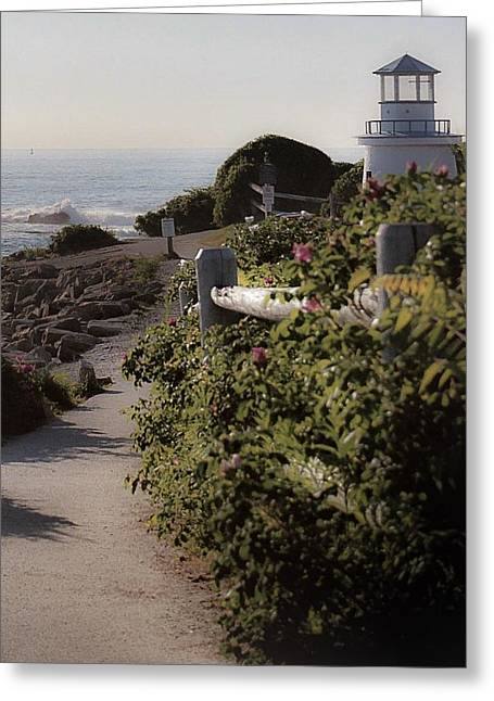 Marginal Way Light House Greeting Card by Lezlie Faunce