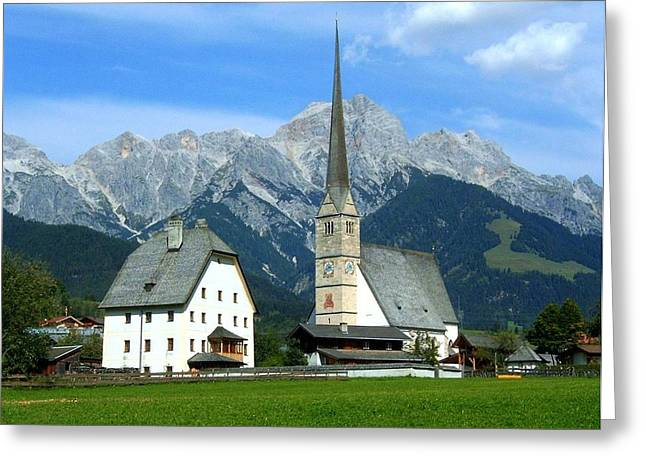 Blau Greeting Cards - Maria Alm Greeting Card by Juergen Weiss
