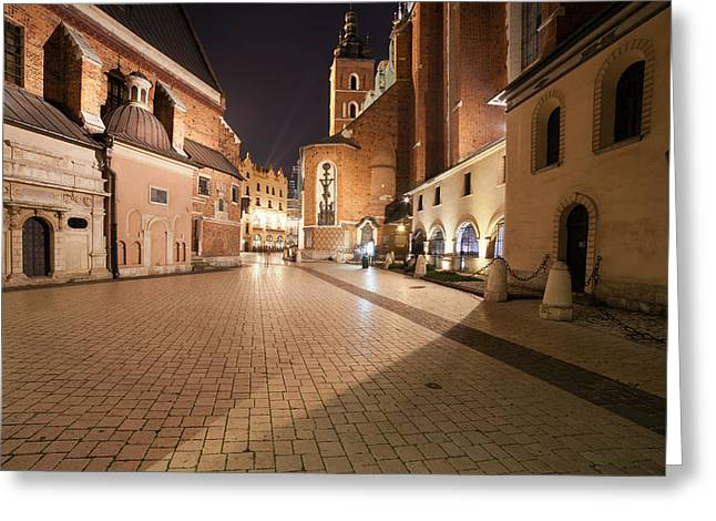 Old Krakow Greeting Cards - Mariacki Square at Night in the Old Town of Krakow Greeting Card by Artur Bogacki