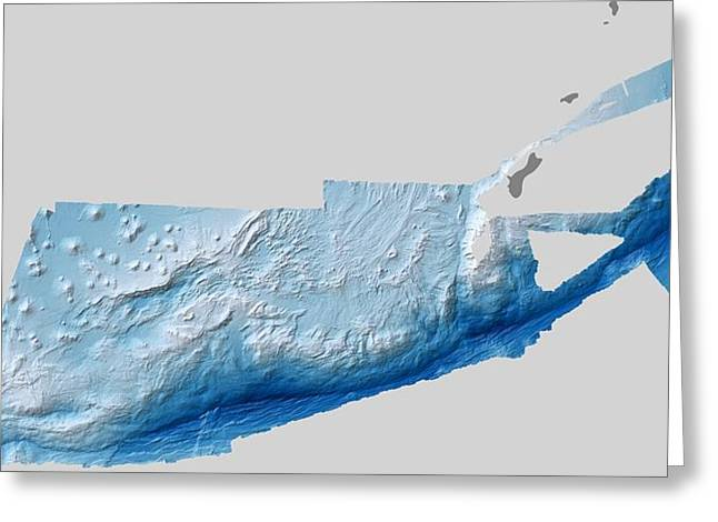 Mariana Greeting Cards - Mariana Trench, bathymetric map Greeting Card by Science Photo Library