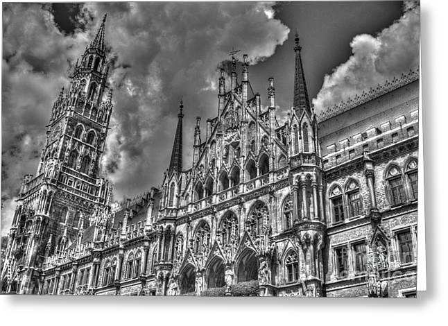 Gothic Germany Greeting Cards - Marienplatz in Munich Greeting Card by Joe  Ng