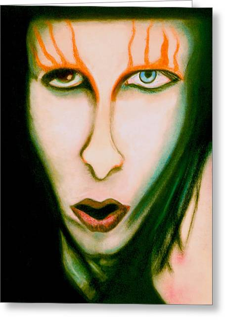 Gothic Pastels Greeting Cards - Marilyn Manson Portrait Greeting Card by Christine Perry