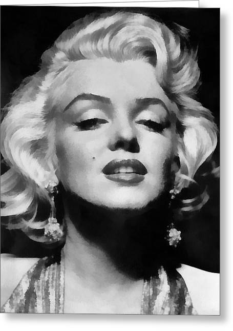 1953 Movies Greeting Cards - Marilyn Monroe - Black and White  Greeting Card by Nomad Art And  Design