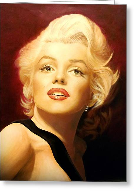 Norma Jean Paintings Greeting Cards - Marilyn Monroe Greeting Card by Victoria Bella-Morte