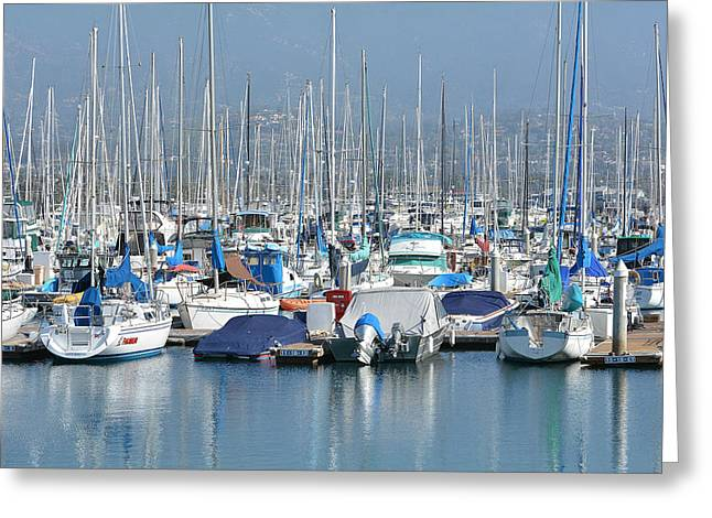Boats In Harbor Greeting Cards - Marina Colors Greeting Card by Fraida Gutovich