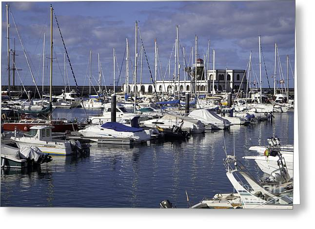 Playa Blanca Greeting Cards - Marina Rubicon Lanzarote Greeting Card by Peter Jordan