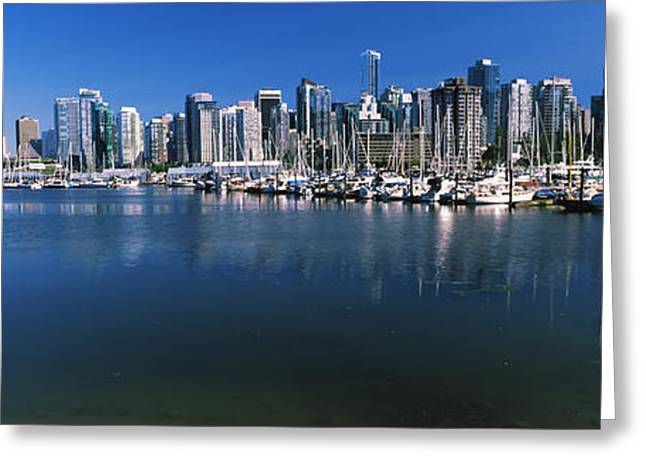 Vancouver Greeting Cards - Marina With City At Waterfront Greeting Card by Panoramic Images