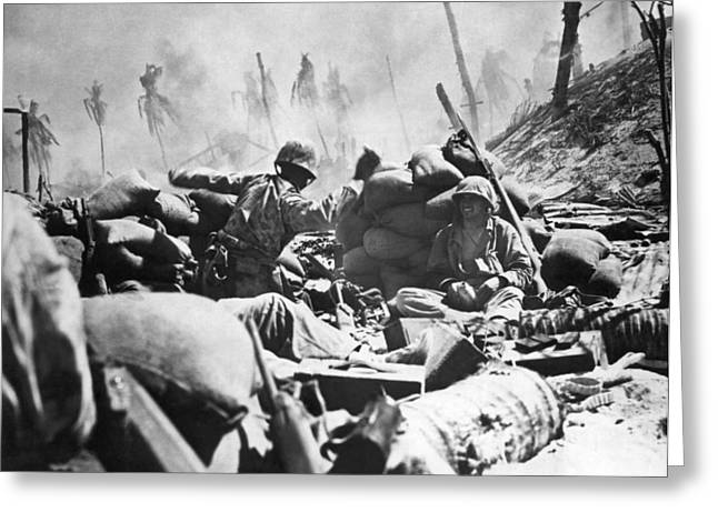 Marines Fight At Tarawa Greeting Card by Underwood Archives