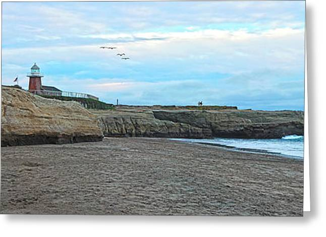 Ocean Panorama Greeting Cards - Mark Abbot Memorial Lighthouse in Santa Cruz CA  Greeting Card by Paul Topp