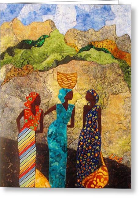 People Tapestries - Textiles Greeting Cards - Market Day Ladies Greeting Card by Lynda K Boardman