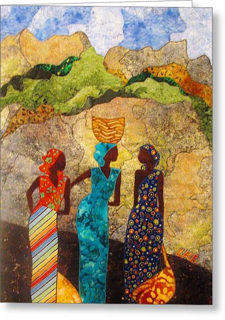 People Tapestries - Textiles Greeting Cards - Market Day Ladies Greeting Card by Lynda K Boardman