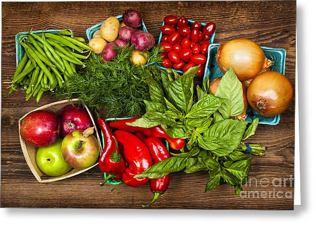 Organic Photographs Greeting Cards - Market fruits and vegetables Greeting Card by Elena Elisseeva