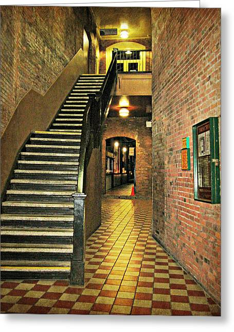 Staircase Mixed Media Greeting Cards - Market Square Greeting Card by Marilyn Wilson