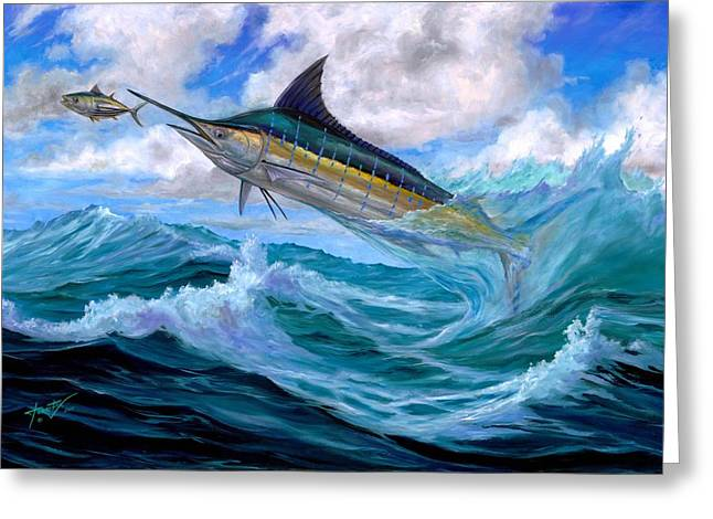Terry Greeting Cards - Marlin Low-Flying Greeting Card by Terry  Fox