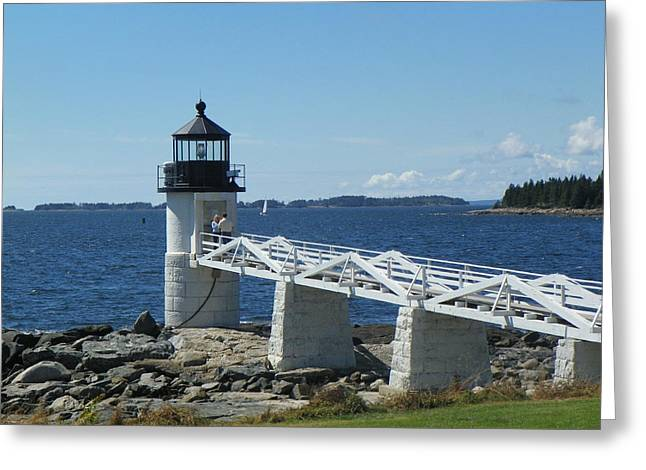 Marshall Point Lighthouse Greeting Card by Joseph Rennie