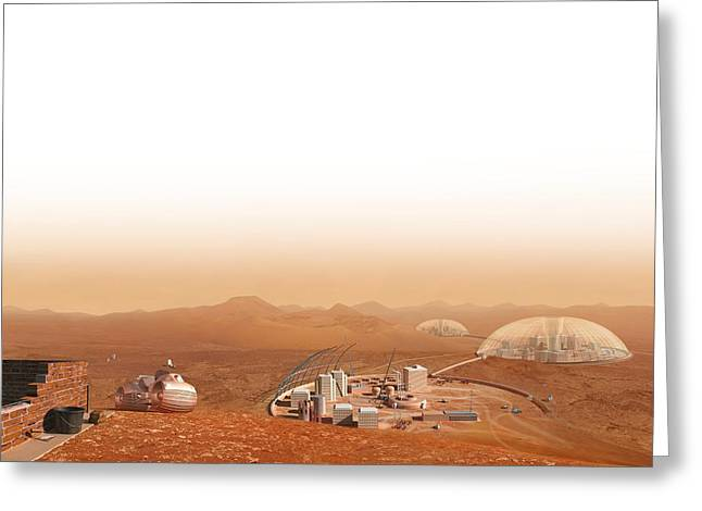 Aeronautical Greeting Cards - Martian settlement, artwork Greeting Card by Science Photo Library