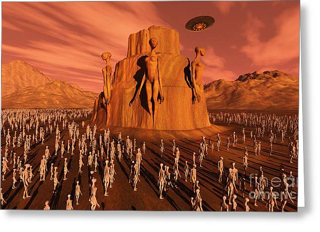 Skinny Greeting Cards - Martians Gathering Around A Monument Greeting Card by Mark Stevenson