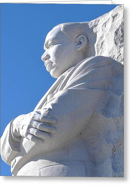 Equality Greeting Cards - Martin Luther King Statue Greeting Card by Brandon Bourdages