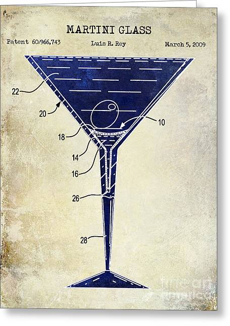 Mixed Drink Greeting Cards - Martini Glass Patent Drawing Two Tone  Greeting Card by Jon Neidert