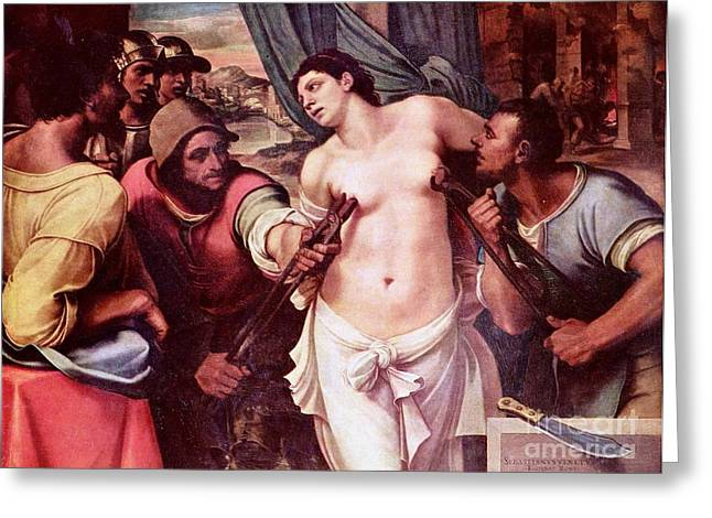 1510 Paintings Greeting Cards - Martyrdom of St Agatha Greeting Card by Pg Reproductions