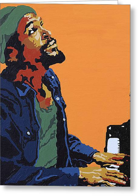 Rnb Greeting Cards - Marvin Gaye Greeting Card by Rachel Natalie Rawlins