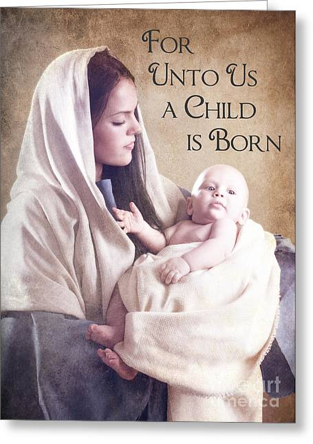 Christ Child Greeting Cards - Mary and Jesus Greeting Card by Cindy Singleton