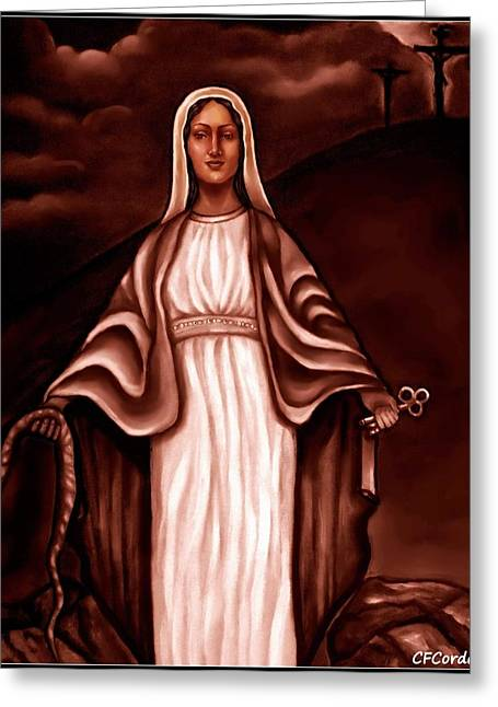 Spiritual Portrait Of Woman Greeting Cards - Mary Greeting Card by Carmen Cordova