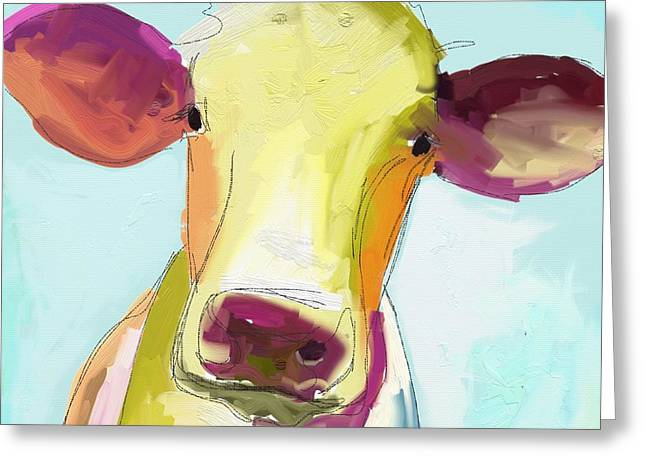 Cow Paintings Greeting Cards - Mary Greeting Card by Cathy Walters