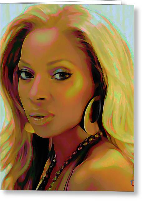 Fli Greeting Cards - Mary J Blige Greeting Card by  Fli Art