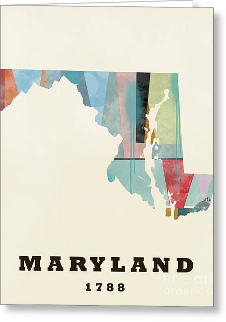 World Map Print Paintings Greeting Cards - Maryland State Map Modern Greeting Card by Bri Buckley