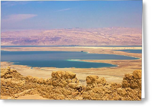Masada Ruins Overlooking The Dead Sea Greeting Card by Keren Su