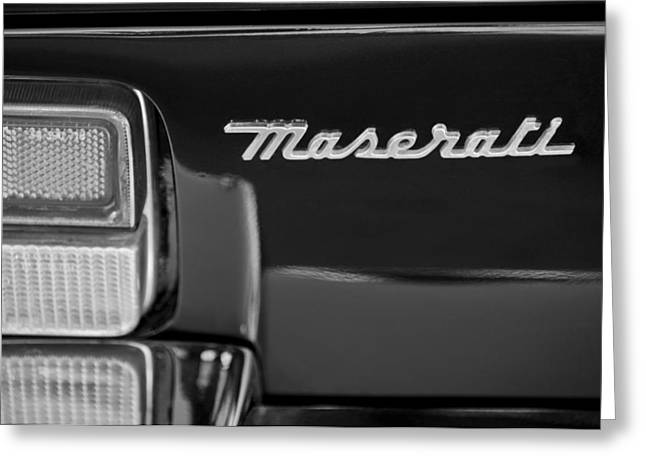 Maserati Greeting Cards - Maserati Ghibli SS Taillight Emblem Greeting Card by Jill Reger