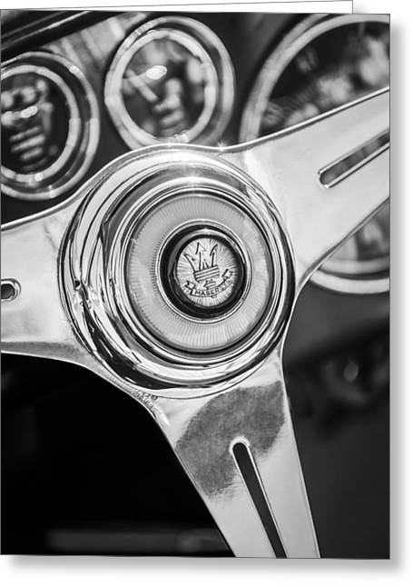 Steering Greeting Cards - Maserati Steering Wheel Emblem Greeting Card by Jill Reger