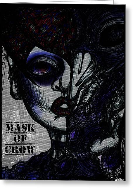 Analog Mixed Media Greeting Cards - Mask of Crow Greeting Card by Akiko Kobayashi