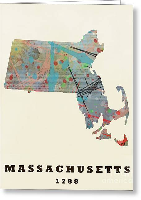 World Map Print Paintings Greeting Cards - Massachusetts State Map Modern Greeting Card by Bri Buckley