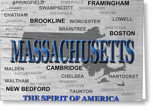 Massachusetts State Pride Map Silhouette  Greeting Card by Keith Webber Jr