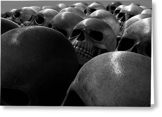Creepy Digital Art Greeting Cards - Massacre Of Skulls Greeting Card by Allan Swart