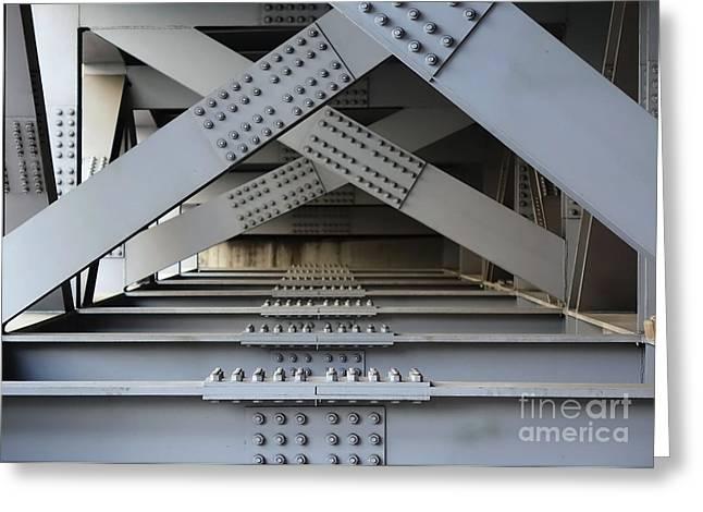 Lugs Greeting Cards - Massive Girder Bridge Greeting Card by Yali Shi