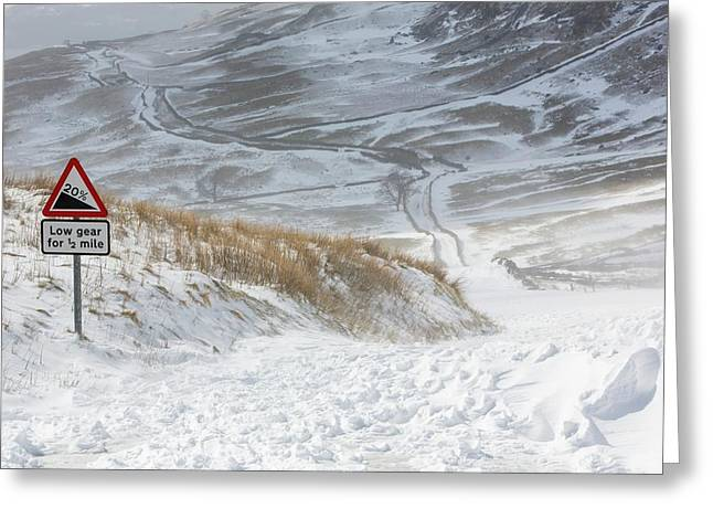Massive Snow Drifts Blocking A Road Greeting Card by Ashley Cooper