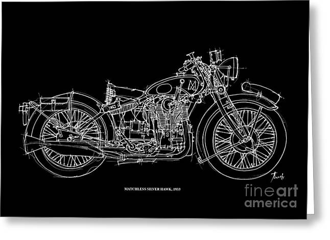 Handmade Drawings Greeting Cards - Matchless Silver Hawk 1933 Greeting Card by Pablo Franchi
