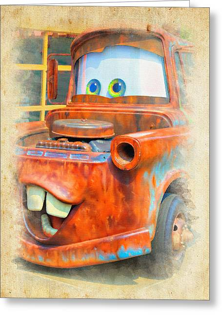 California Adventure Park Greeting Cards - Mater Greeting Card by Ricky Barnard