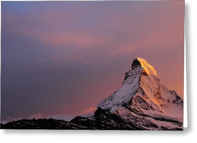 Zermatt Greeting Cards - Matterhorn at sunset Greeting Card by Jetson Nguyen