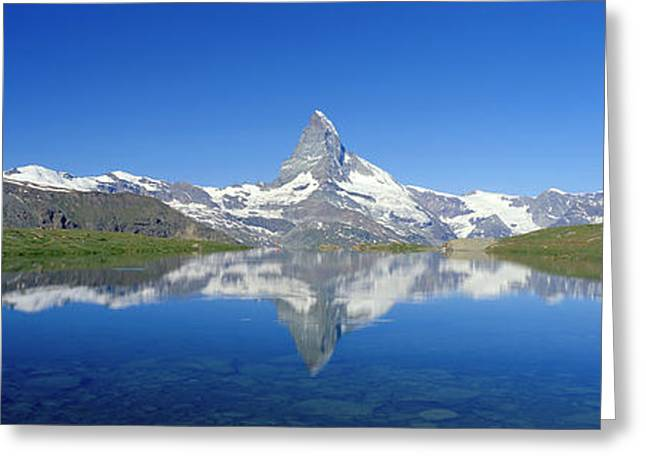 Snow Capped Greeting Cards - Matterhorn Zermatt Switzerland Greeting Card by Panoramic Images